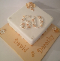 Golden wedding anniversary cake