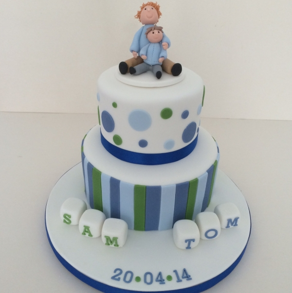 2-tier boys christening cake