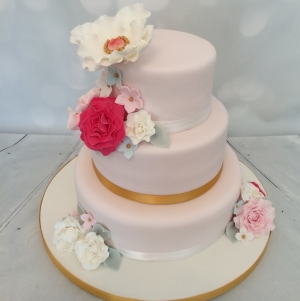 Pink & Gold flowers - 3 tier