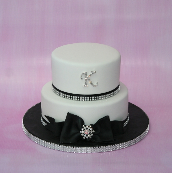 Black, white & diamante cake - 2 tier