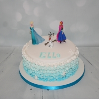 Frozen theme cake with ombre ruffles