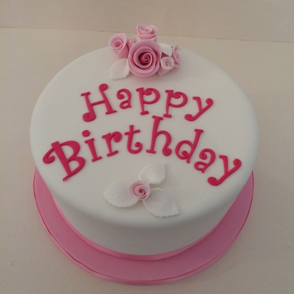 Pink flowers birthday cake