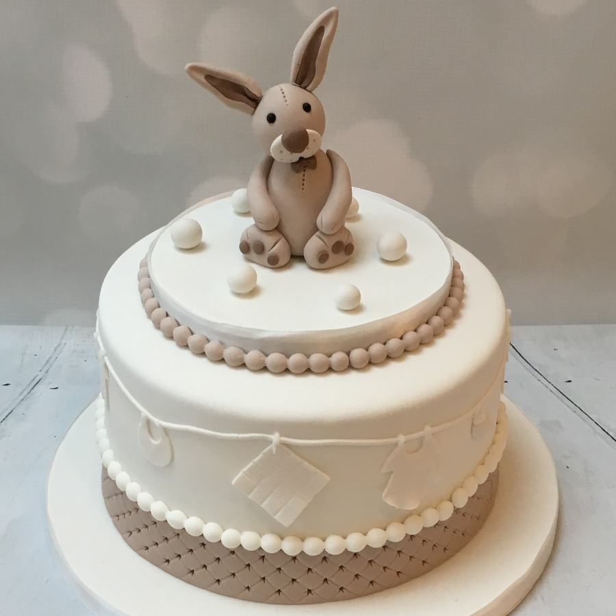 Bunny Baby Shower Cake Neutral Colours