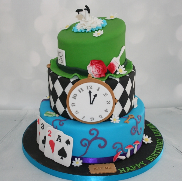 Alice in Wonderland themed cake - 3 tier