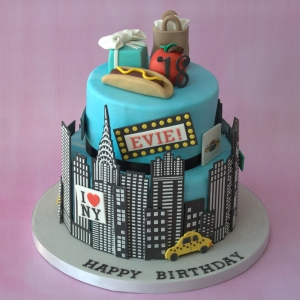 New York themed 2 tier birthday cake