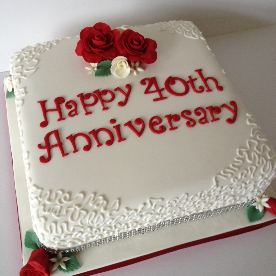 Cake Decorating Ideas For Ruby Wedding : Ruby wedding anniversary cake