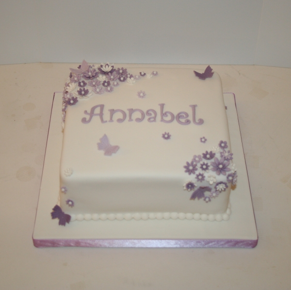Purple flowers & butterflies - christening cake