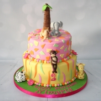 Safari themed cake in candy colours