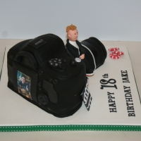 Camera & interests cake - back view