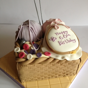 Knitting & sewing theme cake