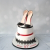 2 tier shoe cake - black/red