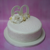 Lemon & white roses 60th Anniversary cake