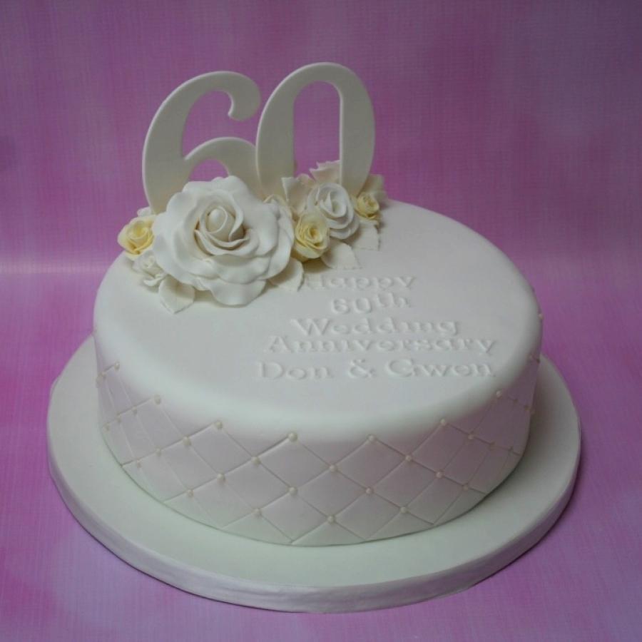 Lemon Amp White Roses 60th Anniversary Cake