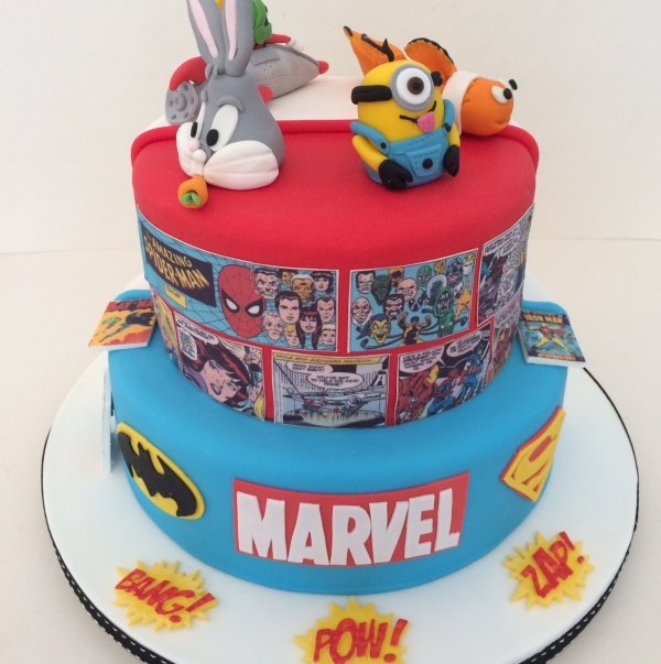 2-tier double sided cake - comics view