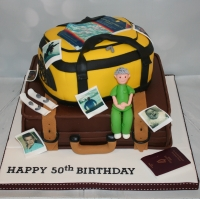 Travel themed 50th birthday - 2 tier