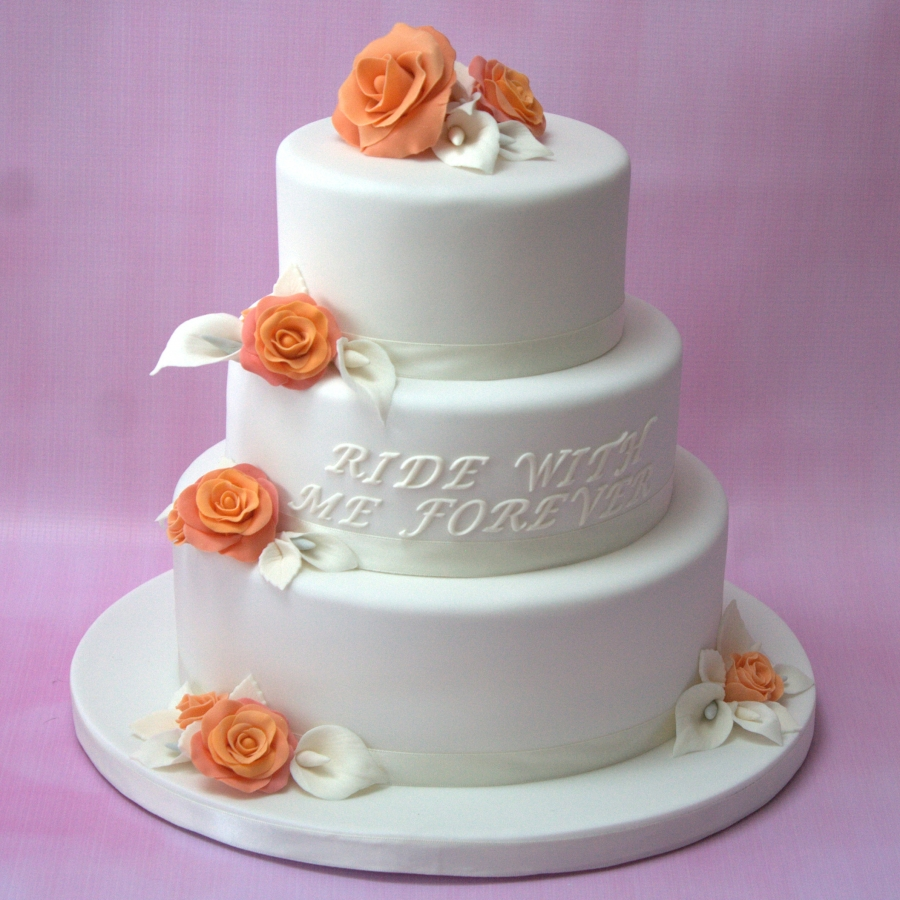 Orange Rose Lily Wedding Cake