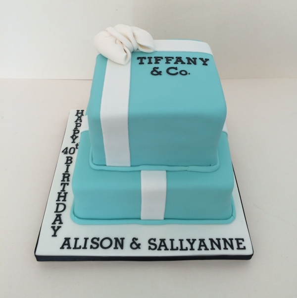 Two tier Tiffany box cake - joint celebration
