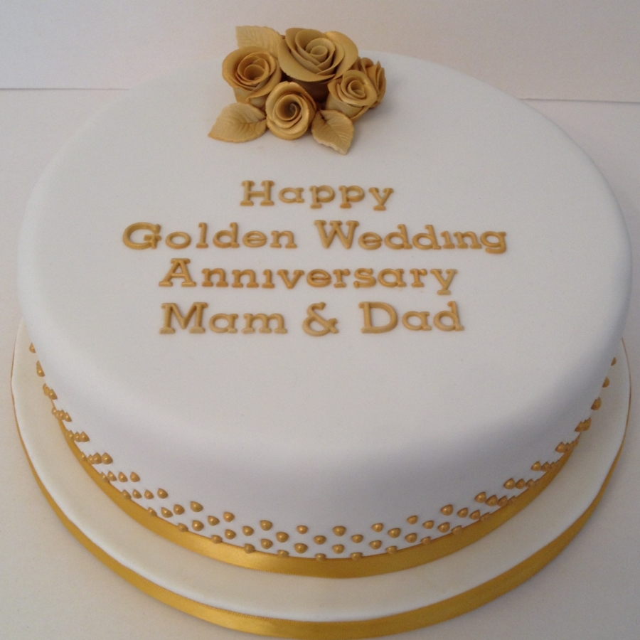 Round golden wedding anniversary cake for Anniversary cake decoration