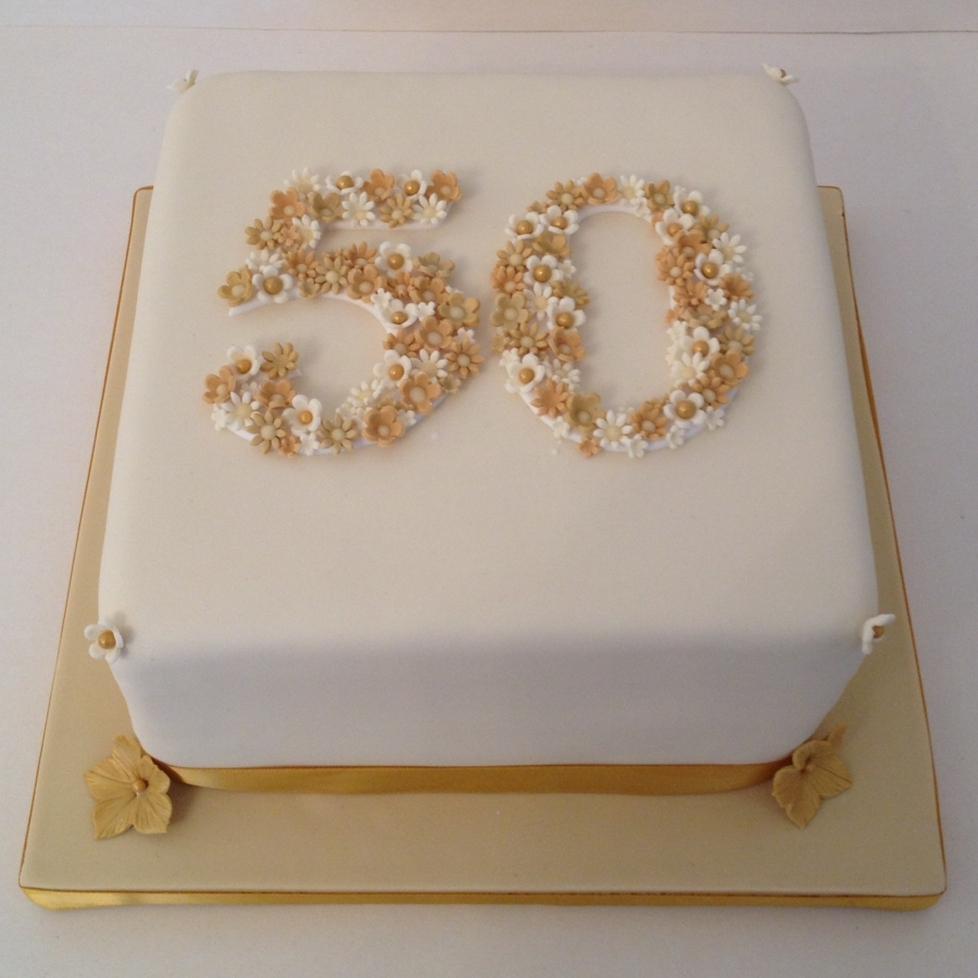 Cake Decorating For Golden Wedding Anniversary : 50 - Golden Wedding anniversary cake