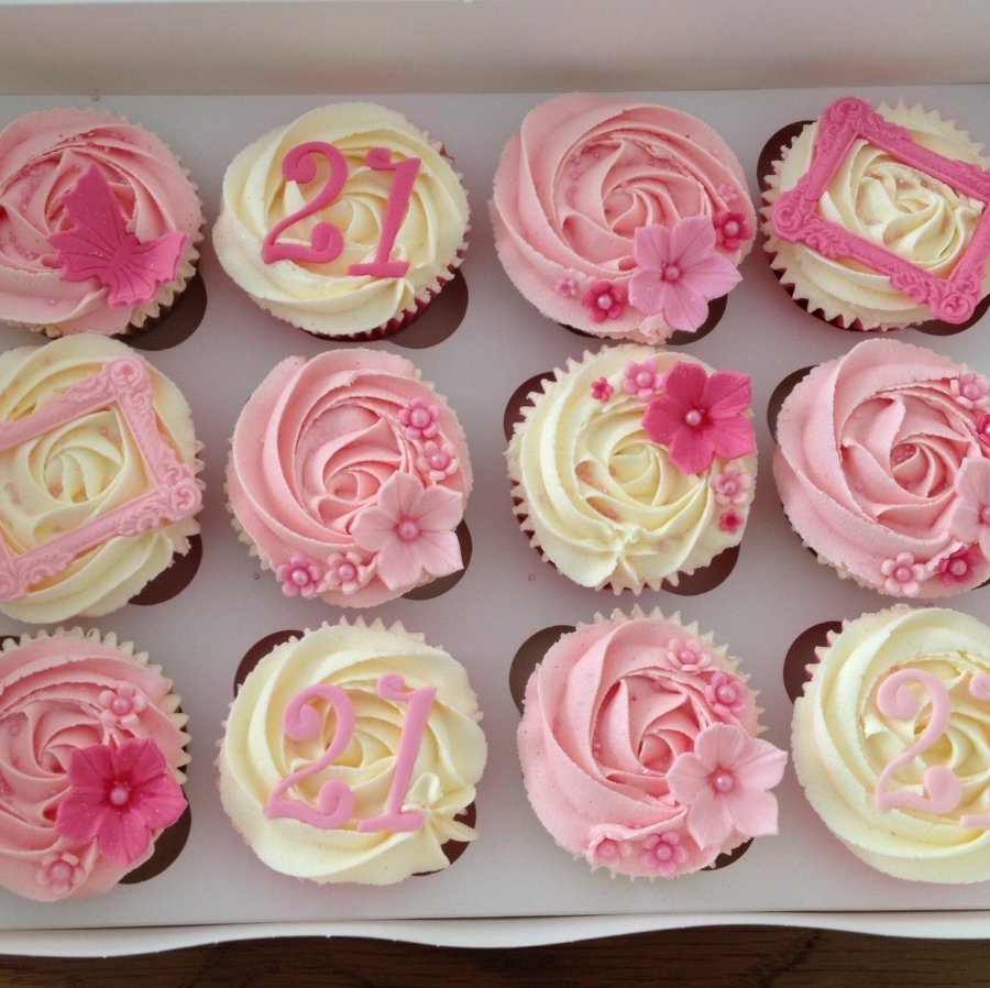 Girly 21st birthday cupcakes
