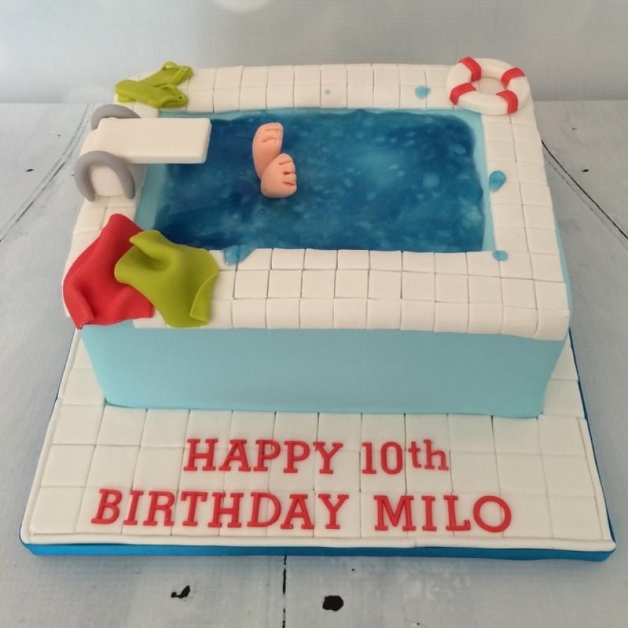 Swell Diving Swimming Pool Cake Personalised Birthday Cards Vishlily Jamesorg