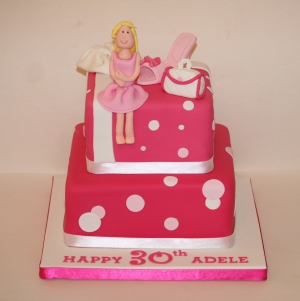 2 tier pink handbag & shoe cake