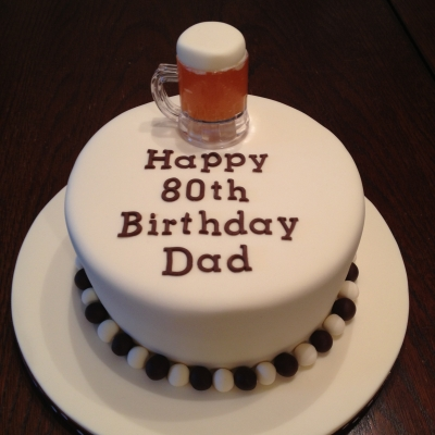 Beer Themed 80th Birthday Cake
