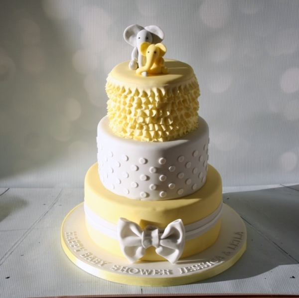Elephant baby shower cake - grey/lemon