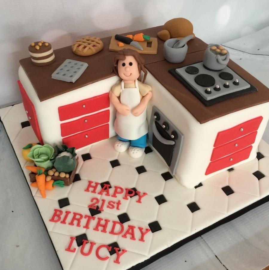 Kitchen Design Cake: Red & Brown