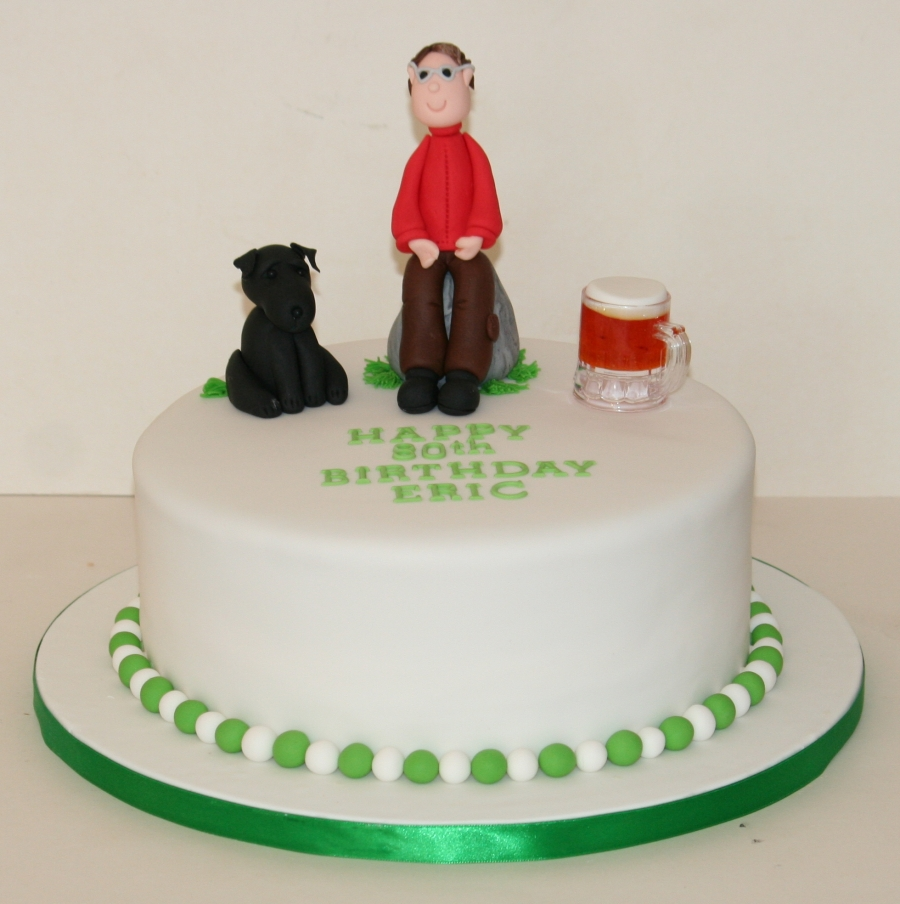 Man His Dog 80th Birthday Cake