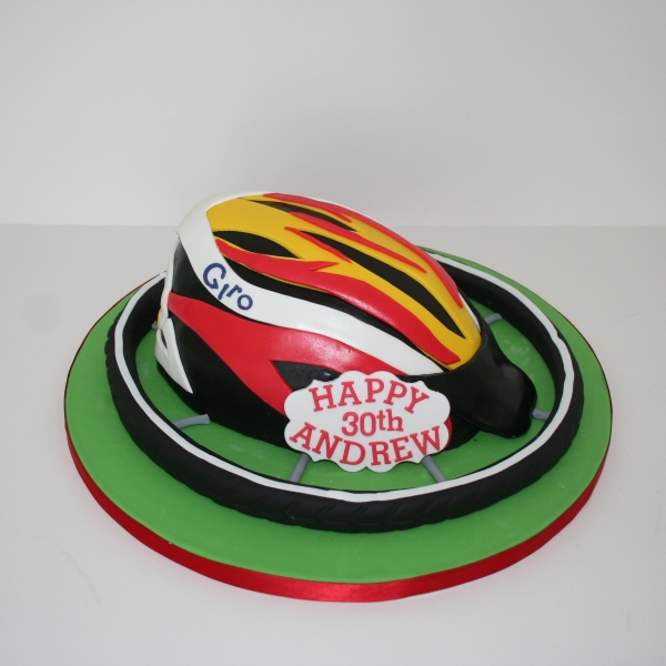 Bicycle helmet cake
