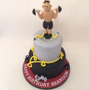 2 tier weight lifting cake