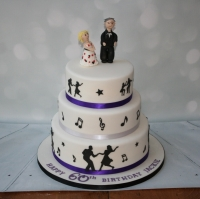 3 tier 60th birthday dancing theme cake