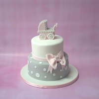 Pram baby shower cake - pink & grey