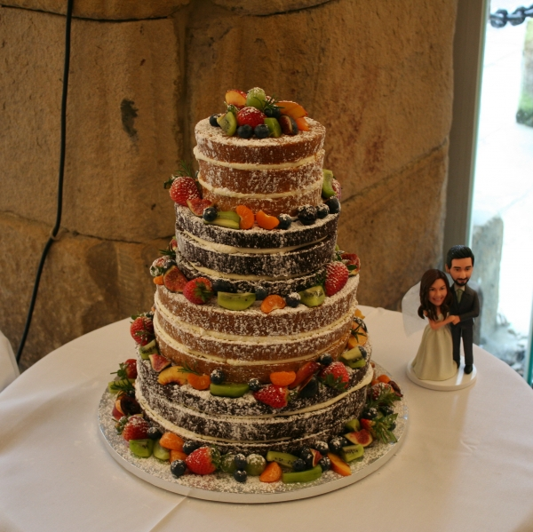 4 tier 'naked' wedding cake with spring fruits