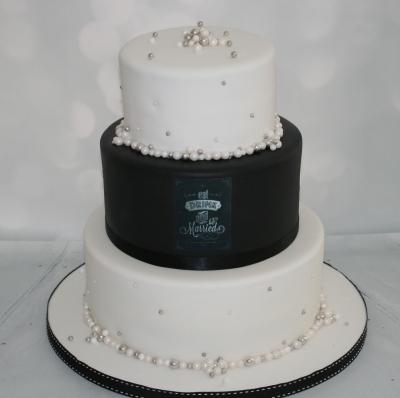 Black Amp Pearl Wedding Cake 3 Tier