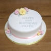 Pink & yellow roses fruit cake