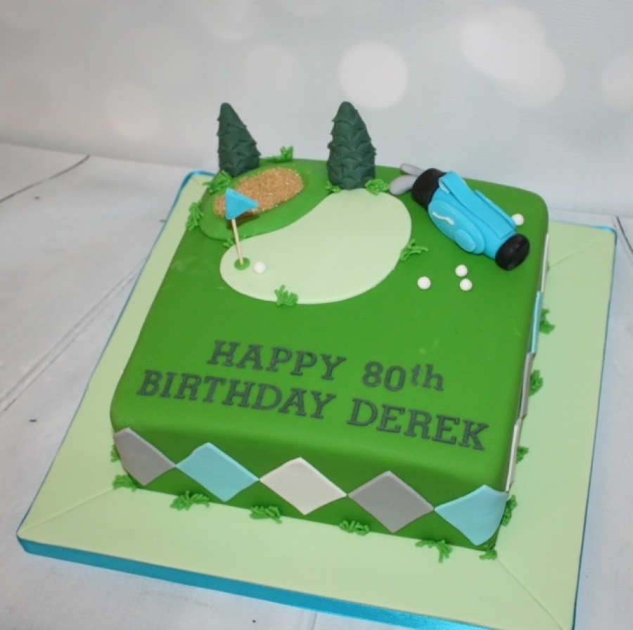 Remarkable Square Golf Themed Cake Funny Birthday Cards Online Aeocydamsfinfo