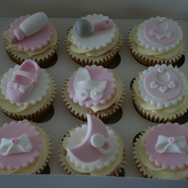 Pink & white baby shower cupcakes