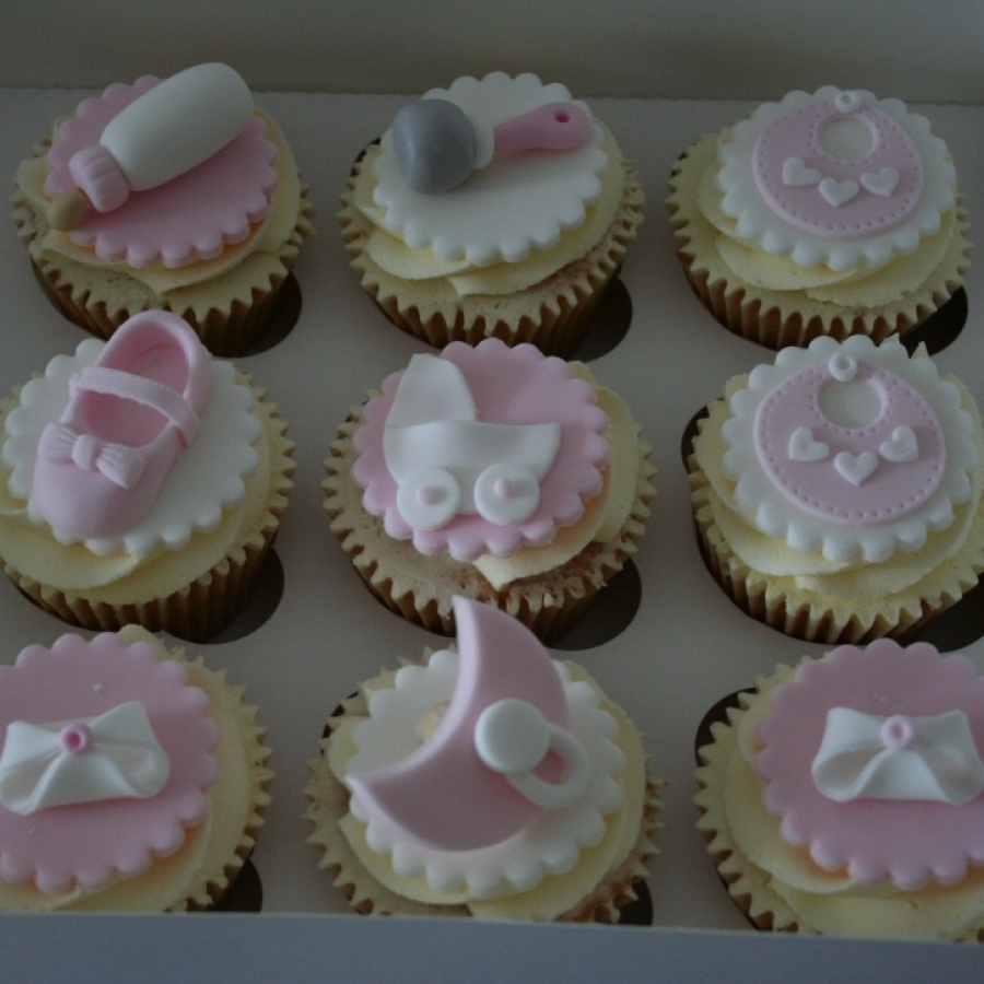Pink White Baby Shower Cupcakes