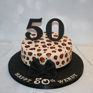 Leopard print 50th cake - single tier