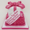 Two tier pink present cake