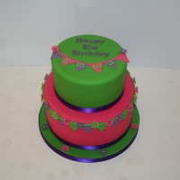 Two tier bunting cake - bright colours