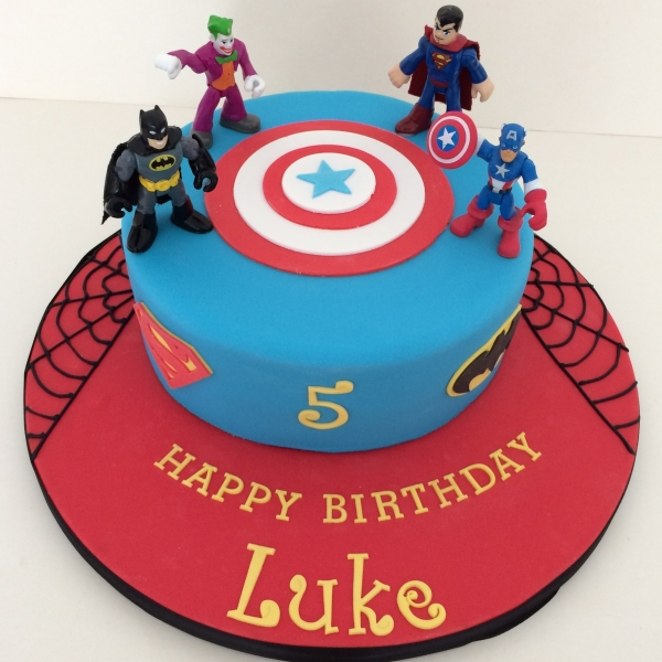 1-tier Superhero cake