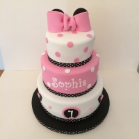 Minnie Mouse theme 3 tier cake