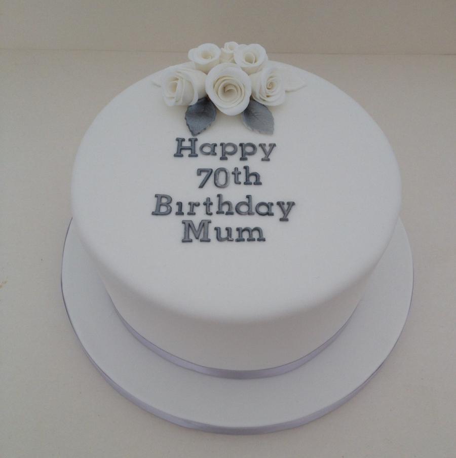 Silver White 70th Birthday Cake