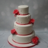 Coral & pearl wedding cake