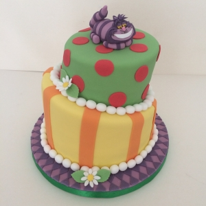 Two tier Madhatters tea party theme cake