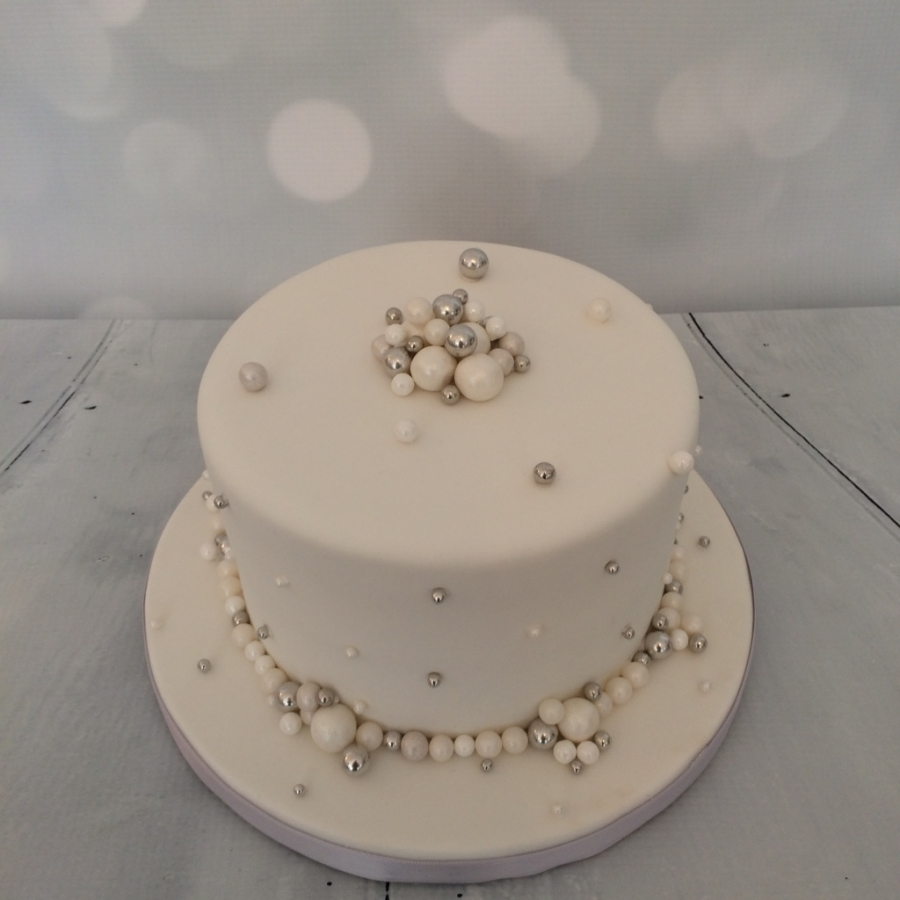 Small White Pearls Wedding Cake