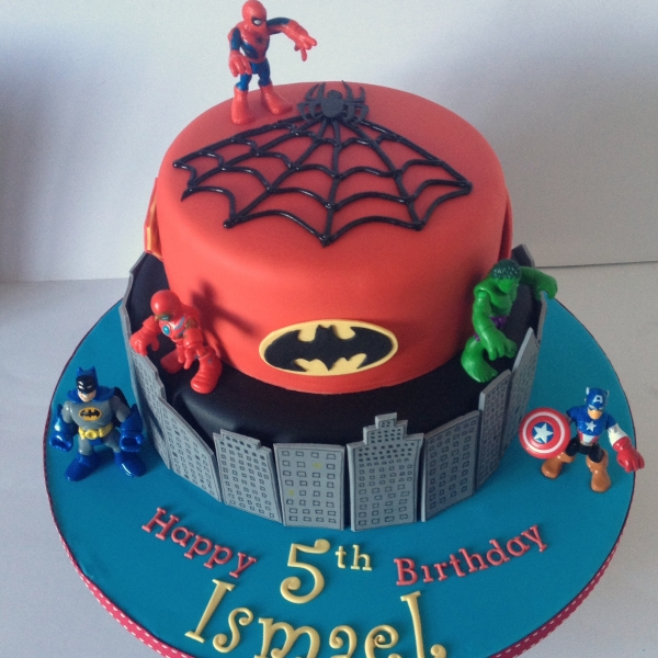 Two tier superhero cake